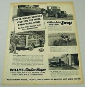 1950 Print Ad Willys Station Wagon And 4 Wheel-drive Universal Jeeps Farm