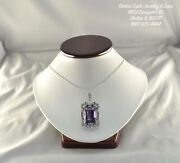 Vintage 20ct Amethyst And Diamond White Gold Pendant Necklace