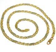 18k Yellow White Gold Chain, Tiger Eye And Ondulate Plate, 20 Inches, Italy Made