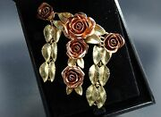 14k Rose And Yellow Gold Giant Five Open Rose Brooch Pin Custom Made For Me 35gr