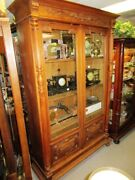 Sale 19th Century French Walnut Carved And Column Double Door Bookcase