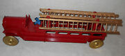 1920's Scheible 17.5in Hill Climber Friction Powered Pressed Steel Fire Truck