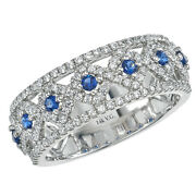 New Ladies 14k White Gold Diamond And Sapphire Vintage Design Cigar Band Ring