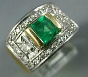 Antique Wide 1.25ct Diamond And Aaa Emerald 14kt 2 Tone Gold Engagement Ring 2008