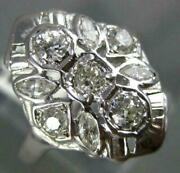 Antique Wide .78ct Diamond 14kt White Gold Round And Marquise Filigree Ring 565