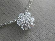 Estate .96ct Diamond 14kt White Gold Flower Cluster By The Yard Necklace 25652