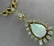 Antique Large 3.0ct Diamond And Aaa Opal 14k Yellow Gold Tear Drop Necklace 22039