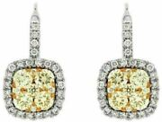 Estate 1.12ct White And Fancy Yellow Diamond 14kt White Gold 3d Hanging Earrings