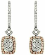 Estate .89ct White And Pink Diamond 14k White Gold Cluster Square Hanging Earrings