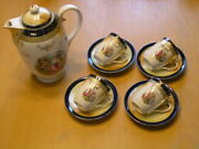 Antique Made In Germany 10pc Demitasse Chocolate Set Teapot 4 Cups 4 Saucers