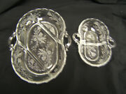 Fostoria Heather Etched Design 2 Divided Relish Dishes Vgc