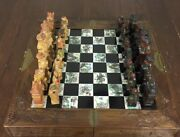 Oriental Hand Carved And Painted Chess Set. Fine Board Box.