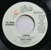 Rock Promo Nm 45 Paul King - I Know / I Know On Epic