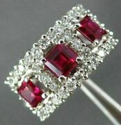 Antique Wide 1.82ct Diamond And Aaa Ruby 14k White Gold 3d Anniversary Ring 19518