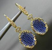 Estate Large 2.26ct Diamond And Sapphire 18k Yellow Gold 3d Oval Filigree Earrings