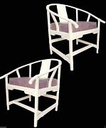 Pair Michael Taylor Wrap Bamboo And Leather Asian Modern Rattan Arm Lounge Chairs