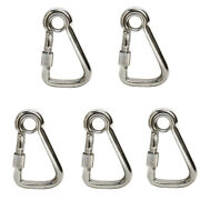 5pc 3/8and039and039 Marine Stainless Steel Carabiner Spring Snap Hook W/ Eyelet+screw Nut