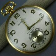 Antique Large And Co. Switzerland 18kt Yellow Gold 3d Pocket Watch 26596