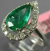 Estate Large 2.07ct Diamond And Aaa Emerald 18k White Gold 3d Halo Engagement Ring