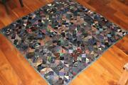 Very Rare Antique 19th Century Victorian Hand Made Silk Patch Quilt 66 X 66