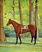 Jane Thayer Us 20th C. Oil Painting Champion Race Horse Damascus C.1960and039s