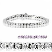 5.35 Ct H Color Natural Round Diamond Classic 4 Prong Tennis Bracelet White Gold