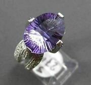 Estate Large 5.40ct Diamond And Aaa Light Amethyst 14k White Gold 3d Cocktail Ring