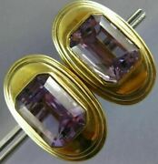Antique Extra Large Aaa Amethyst 14kt Yellow Gold Emerald Cut Oval Earrings