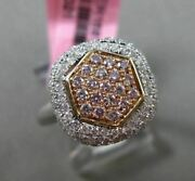 Estate Wide .83ct Diamond 18k White And Rose Gold 3d Hexagon Cluster Filigree Ring