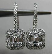 Estate Large .86ct Diamond 18kt White Gold 3d Classic Leverback Hanging Earrings