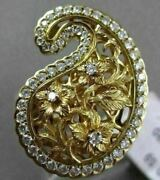 Antique Large .59ct Diamond 18kt Yellow Gold Floral Filigree Fun Cocktail Ring