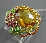 Antique Large 8ct Extra Facet Multi Color Gemstone 18kt Yellow Gold Flower Ring