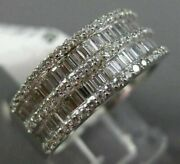 Estate Wide 1.18ct Baguette And Round Diamond 18kt White Gold 3d Anniversary Ring