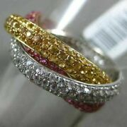 Estate 2.86ct Diamond And Aaa Pink Yellow Sapphire 14k Tri Color Gold Trinity Ring