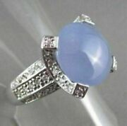 Antique Wide 5.20ct Diamond And Aaa Blue Quartz 14kt White Gold Filigree Fun Ring