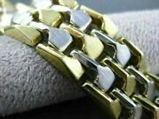 Antique Wide 14kt White And Yellow Gold Pyramid Link Design Bracelet Stunning 1455