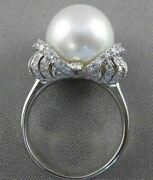 Estate Diamond 14mm South Sea Pearl 14kt White Gold Fancy Cocktail Ring Vs 2670