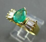 Antique Wide 1.28ct Diamond And Emerald 14k Yellow Gold Pear Engagement Ring 22019