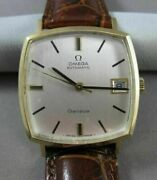 Estate 18kt Yellow Gold Omega Automatic Swiss Square Face Mens Watch 21019