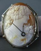 Antique Large Old Mine Diamond 14kt White Gold Filigree Cameo Brooch Pin 11970