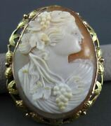 Antique Large 14k Yellow And Rose Gold Floral Lady Shell Cameo Pendant And Pin 22497