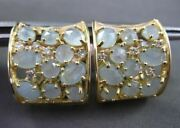 Estate Extra Wide 10.37ct Diamond And Blue Agate 14kt Yellow Gold Huggie Earrings