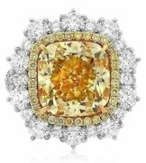 14.30ct White And Fancy Yellow Diamond 18kt 2 Tone Gold 3d Engagement Ring Pendant