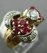 Antique Large .70ct Old Mine Diamond And Aaa Ruby 14k White And Rose Gold Ring 1653