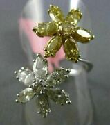 Estate Large 2.87ct White And Yellow Diamond 18kt Two Tone Gold Double Flower Ring