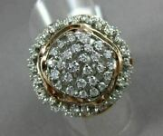 Estate Large 1.50ct Diamond 14kt White And Rose Gold Flower Filigree Cocktail Ring