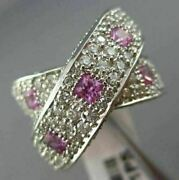 Estate Large 3.0ct Diamond And Pink Sapphire 14kt White Gold Criss Cross Love Ring
