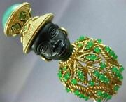 Estate Large Aaa Emerald And Green Carnelian 14kt Yellow Gold 3d Lady Ebony Brooch