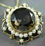 Antique Large 35ct Smoky Topaz And South Sea Pearl 14kt Yellow Gold Pendant Brooch