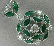 Estate Large 2.41ct Diamond And Aaa Emerald 18k White Gold Classic Flower Pendant